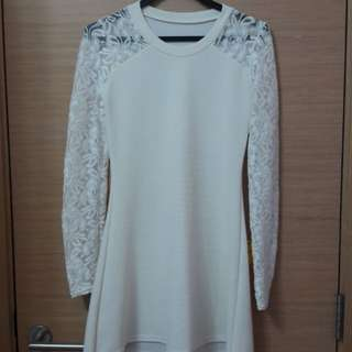 White Dress with Laced Long Sleeves