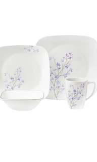 Corelle Dinnerware square set jacaranda splendour 16pcs . For 4 pax