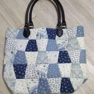 自家手作,日本'若山雅子'棉布拼縫間棉手袋