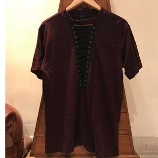 F21 lace up maroon oversized top
