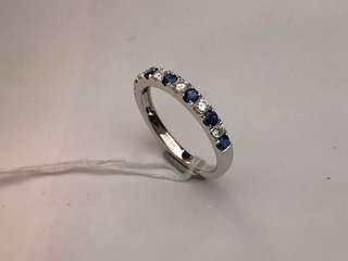 18K白金藍寶鑲鑽石戒指