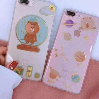 Linefriends星球閃粉手機殼IPhone7/8/plus/X
