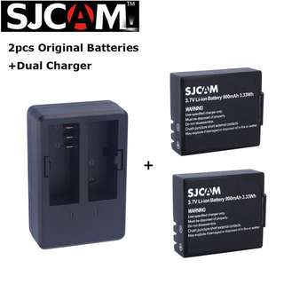 Original SJCAM Extra Battery +Dual Charger Accessories SJ4000 SJ5000 CAM