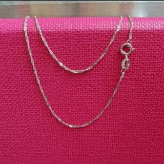 "Italian Gold 18K750 White Gold Chain (16""long)                                                             意大利 18K750白金項鍊"