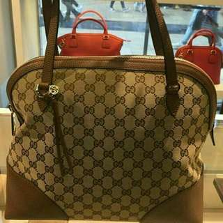 Auth Gucci GG Tote Bag in Brown