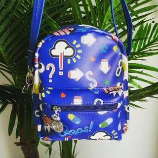 Curtsy Bags Have Feelings Too 2-In-1 Backpack Sling Bag (Blue)