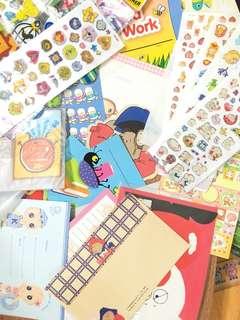 Bunch of stickers, block-note, envelops