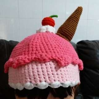 手織可愛雪糕帽