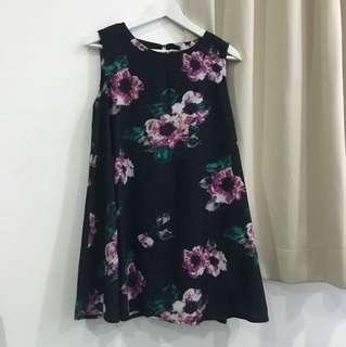 Snidel Inspired Navy Floral Swing Dress