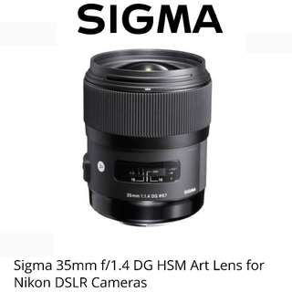 Sigma 35mm F1.4 DG HSM ART Lens