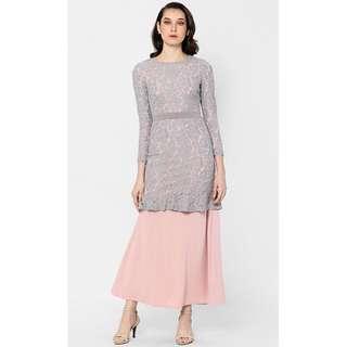 Eliza lace kurung in grey Fashionvalet