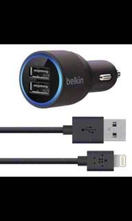 BNIB Original Belkin 2 Port USB Car Charger + Lightning Cable