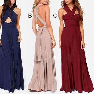 Maroon Convertible Infinity Maxi & Short Dress #FEB50