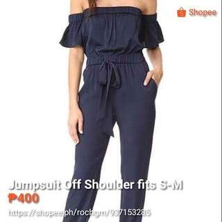 Off shoulder Denim Jumpsuit