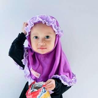 hijab anak kerudung ungu