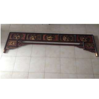 Chinese Antique Canopy Bed Frame Carved Header