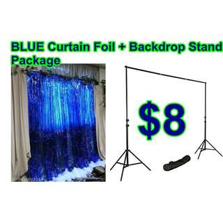 @ Circuit Road - Rental-Package Blue Foil Curtain + Backdrop Stand