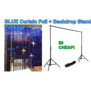 Blue Curtain foil + Backdrop Stand Package @ Circuit road