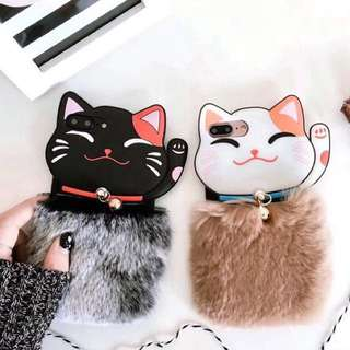 PO(313) Lucky Fortune Cat Brown Black Fur Bell Silicon Case iPhone Phone Case