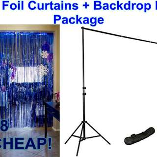 Blue Curtain Foil + Backdrop Stand Package @ $8