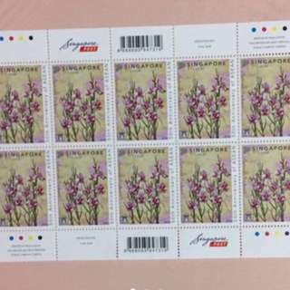 Brand New Limited Edition ASEAN 50th Anniversary Vanda Miss Joaquim Orchid Unused And Mint 1st Local Sheet Of 10 Stamps For $3.90.