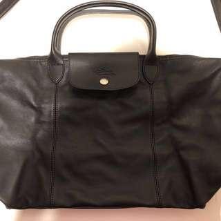 全新 Longchamp LE PLIAGE CUIR 小羊皮 黑色 M號