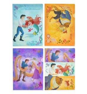 減價中!🇯🇵日本代購 迪士尼 Disney 美人魚 Aerial 長髮公主 貝兒 A4 file 1set 4個 可散買