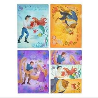 🇯🇵日本代購 迪士尼 Disney 長髮公主 Rapunzel 美人魚 Aerial 貝兒 Belle 4 個 File set