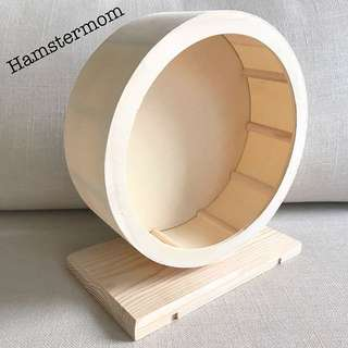 20cm Hamster Wooden Exercise Silent Running Wheel with Stand