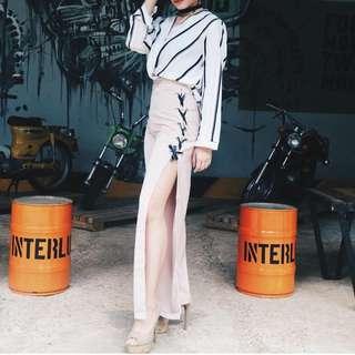 Cream side slit pants