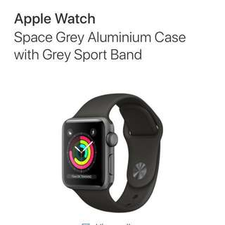 Apple Watch Series 3 (GPS only version) 38mm - Space Grey Aluminium Case with Grey Sport Band