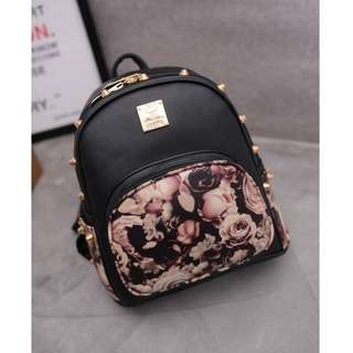 Classic Designer Collection  Korean Roses & Blooms Black PU Leather Ladies Gold Rivets Bag Pack / Shoulder Tote