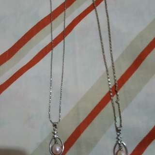 Pearl pendant with little diamond n chain