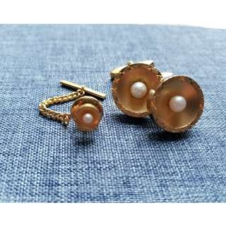Vintage Cufflink Set with Pearl