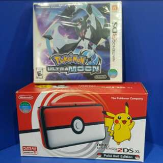 Nintendo 2DS XL poke ball edition with Game