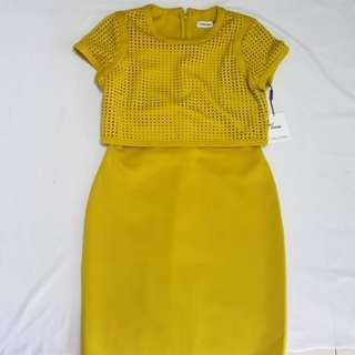 calvin klein mustard office dress