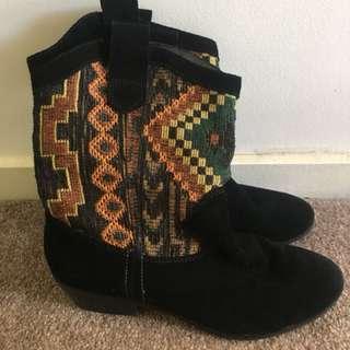 DIANNA FERRARI black stitched leather boots