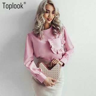 Ruffles Pocket Blouse Top (PO)