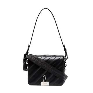 OFF-WHITE Black binder clip shoulder bag
