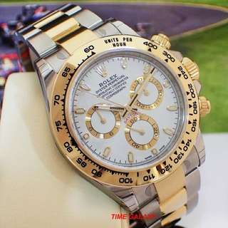 Brand New ROLEX Cosmograph Daytona Steel and Yellow Gold White Dial Automatic Chrono 40mm Watch. Swiss made. Ref model : 116503