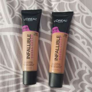 L'oreal infallible total cover foundation 305 & 309