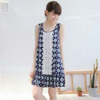 Dark Blue Print Dress With Lace Insert