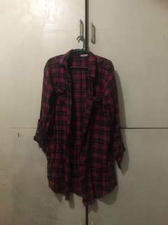 Red Black Plaid polo dress
