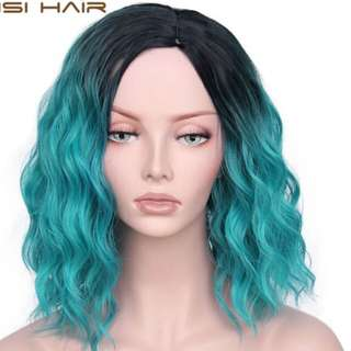 BNWT Blue Teal short curly wig