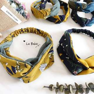 Floral in heart hair bands - navy and yellow