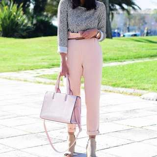 Pastel pink high waisted trousers