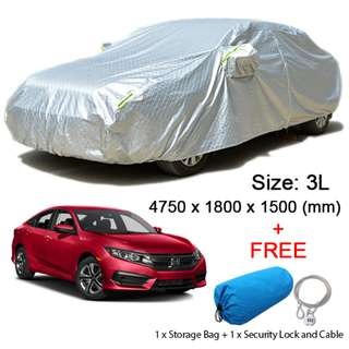 (Size 3L) Sedan Car Cover Rain, Dust Resistant, Sunlight, Weather Protection
