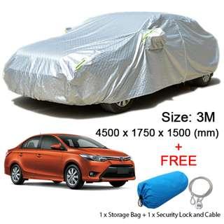 (Size 3M) Sedan Car Cover Dust, Rain Resistant, Sunlight, Weather Protection