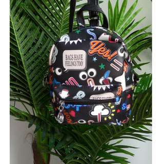 Curtsy Bags Have Feelings Too 2-In-1 Backpack Sling Bag (Black)