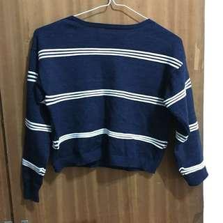 [二手上衣]短版深藍針織條紋上衣